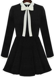 Bow Collar Flouncing Black Dress