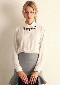 Lapel Loose Chiffon White Blouse