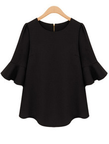 Half Sleeve Flouncing Chiffon Black Blouse