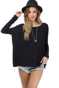 Batwing Loose Black T-Shirt