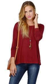 Batwing Loose Red T-Shirt