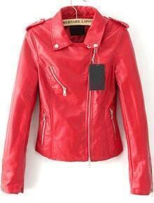 Lapel Epaulet Crop PU Red Jacket