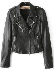 Lapel Epaulet Crop PU Black Jacket