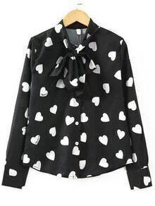 Black Tie Neck Hearts Print Blouse