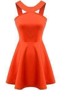 Orange Strap Backless Flouncing Dress