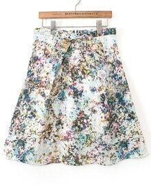 Multicolor High Waist Floral Skirt