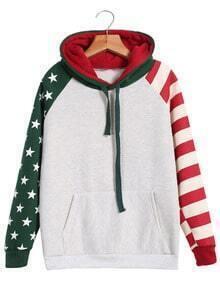 Striped Stars Print Hooded Sweatshirt