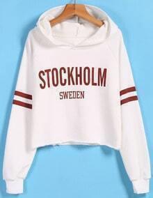 STOCKHOLM Print Hooded Crop White Sweatshirt