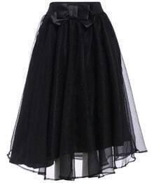 Bow Sheer Mesh Black Skirt