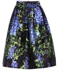 Floral Leaves Print Midi Skirt