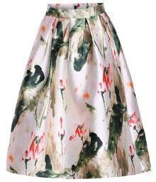Ink Painting Print Midi Skirt