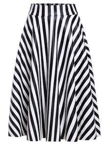 Vertical Stripe PU Black and White Skirt
