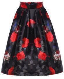Floral Print Flare Midi Skirt