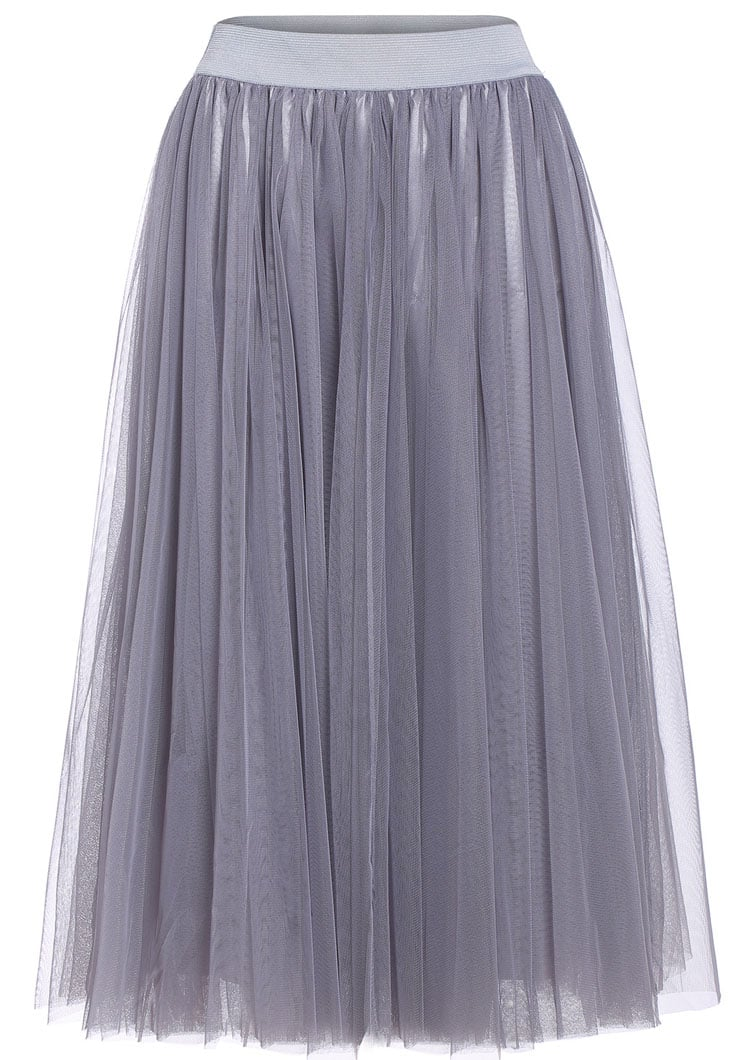 sheer mesh pleated grey skirt