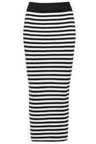 Striped Slim Body Conscious Black Skirt