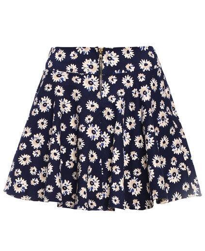 Daisy Print Zipper Skirt pictures