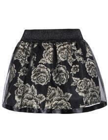 Floral Print Sheer Mesh Skirt