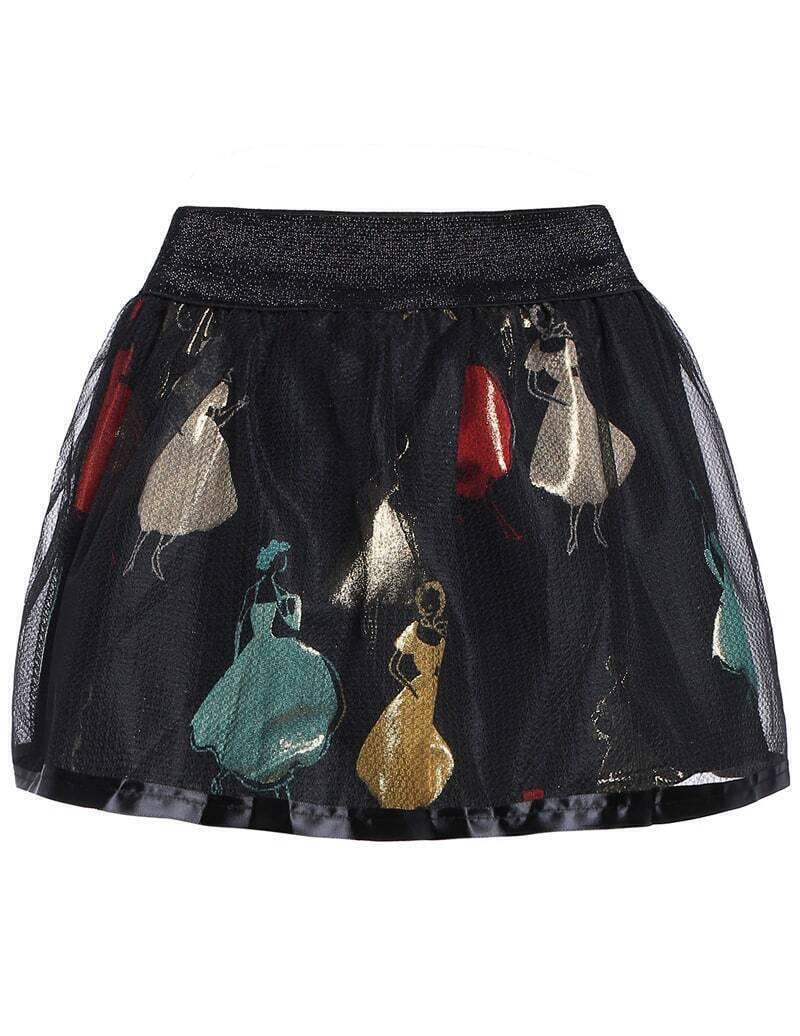 Girl Print Sheer Mesh Flare Skirt
