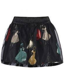 Girl Print Sheer Mesh Flare Skirt