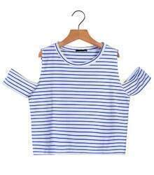 Off-shoulder Striped Crop Blue T-Shirt