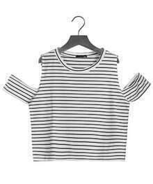 Off-shoulder Striped Crop Black T-Shirt