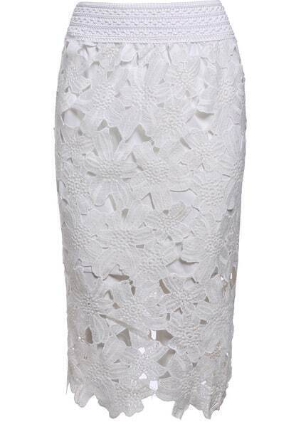 Floral Crochet Hollow Lace White Skirt pictures