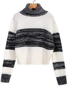 Striped Black and White Crop Sweater