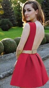Sleeveless Backless Flare Red Dress