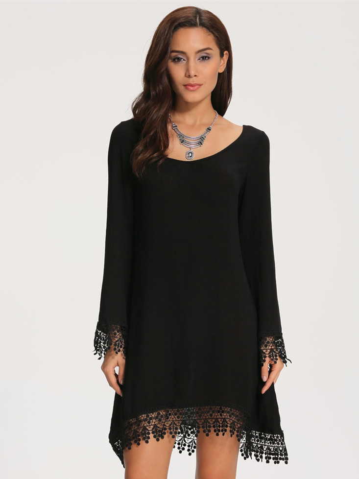 Lace Embellished Loose Dress - $20.16