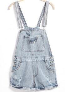 Strap Ripped Buttons Denim Jumpsuit