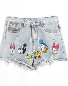 Cartoon Print Fringe Denim Shorts
