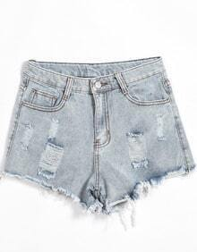 Pockets Ripped Denim Shorts
