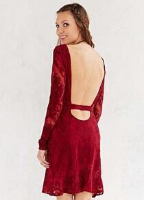Lace Backless Red Dress