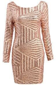 Backless Sequined Gold Dress