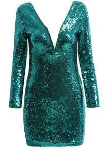 V Neck Sequined Green Dress