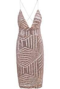 Spaghetti Strap Sequined Bodycon Dress