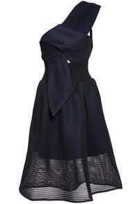 One Shoulder Grid Flare Dress