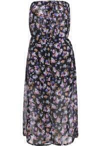 Strapless Floral Print Split Dress