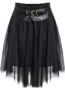 Contrast PU Leather Sheer Mesh Skirt