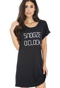 SNOOZE 0:CLOCK Print Loose T-Shirt