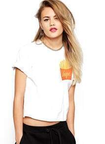 French Fries Print Crop T-Shirt