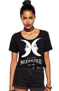 Moon Letters Print Crop T-Shirt