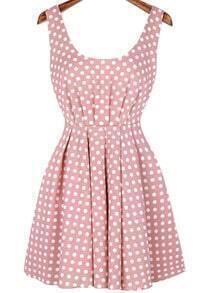 Scoop Neck Polka Dot Bow Pink Dress