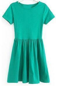 Round Neck Pleated Slim Green Dress