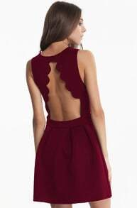 Sleeveless Backless Pleated Wine Red Dress