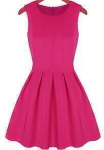 Sleeveless Pleated Flare Rose Red Dress
