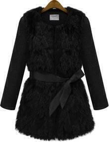 Faux Fur Tie-Waist Coat