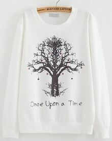 Tree Print Loose White Sweatshirt