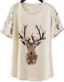 Deer Print Loose T-Shirt