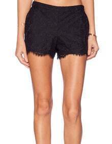 Lace Embroidered Slim Shorts